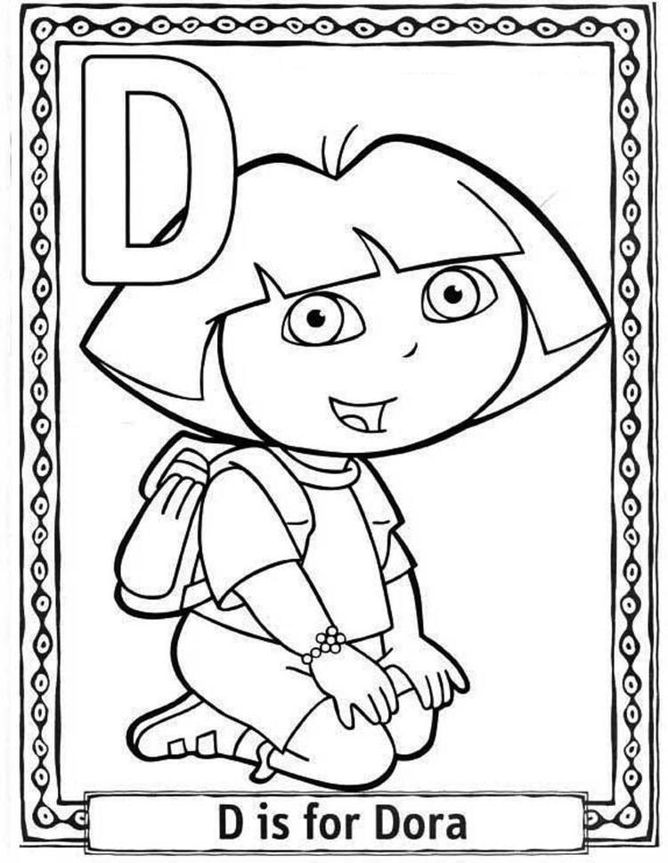 D For Dora Cartoon Printable Alphabet Coloring Pages