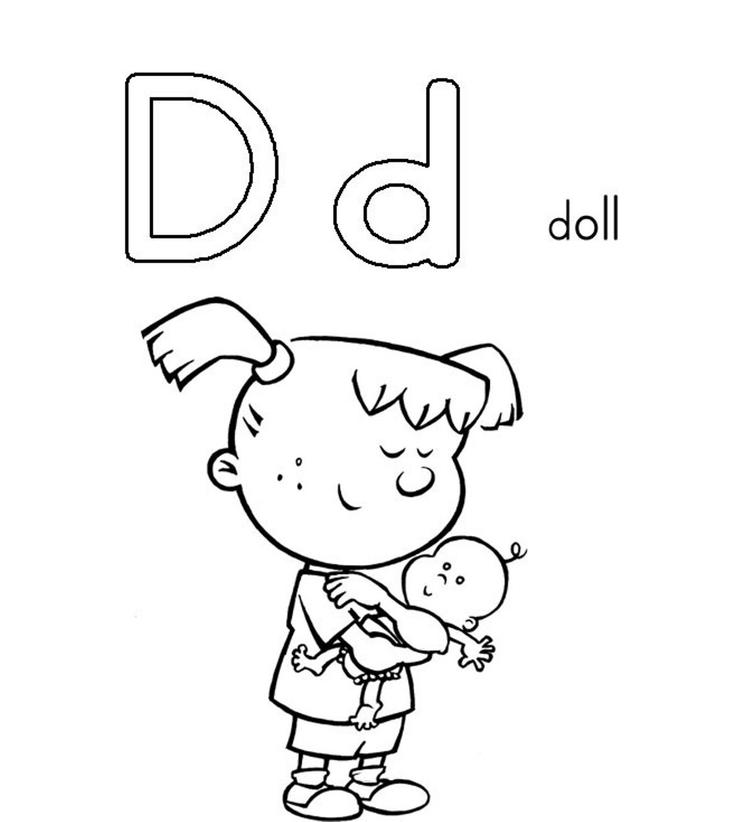 D Is For Doll Printable Alphabet Coloring Pages Free
