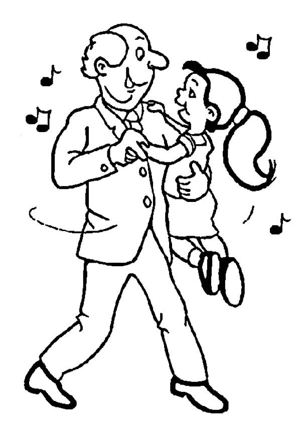 Dance With Grandpa Coloring Pages