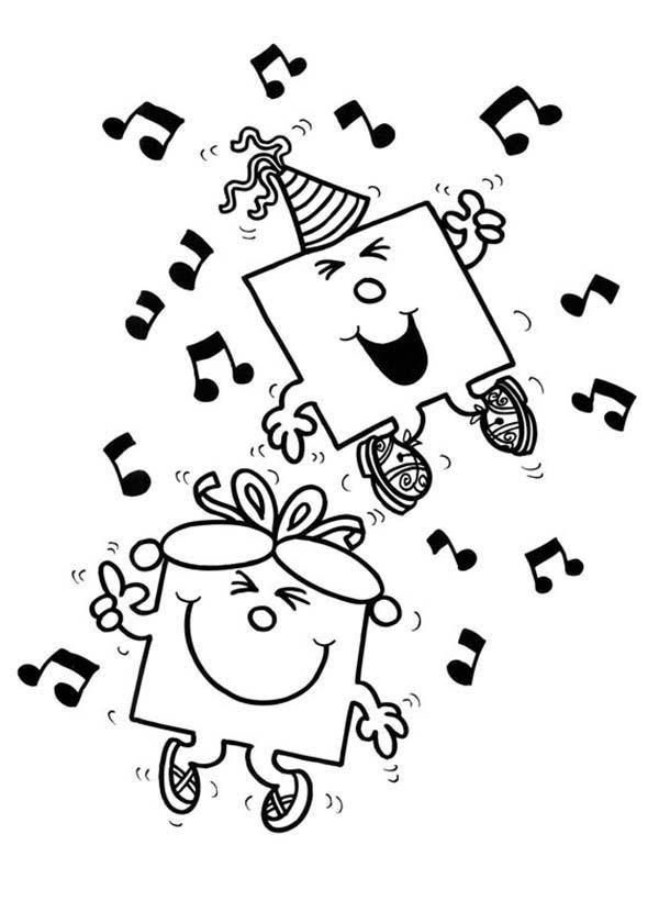 Dance With Music In Mr Men And Little Miss Coloring Pages
