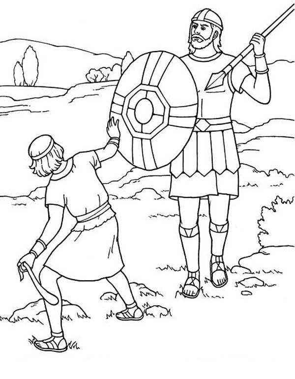 David And Goliath Coloring Pages Fighting