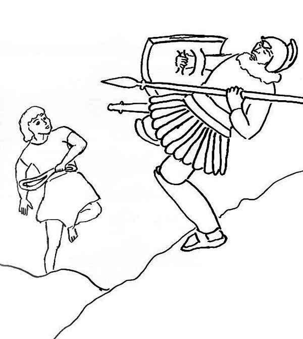 David And Goliath Coloring Pages Goliath Falling Down