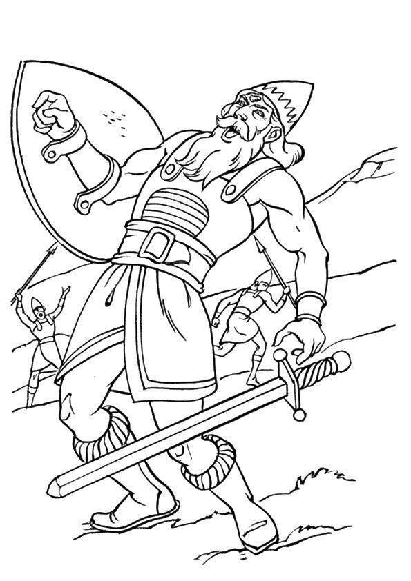David And Goliath Coloring Pages Goliath