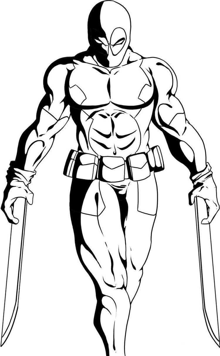Deadpool Coloring Pages With Two Swords
