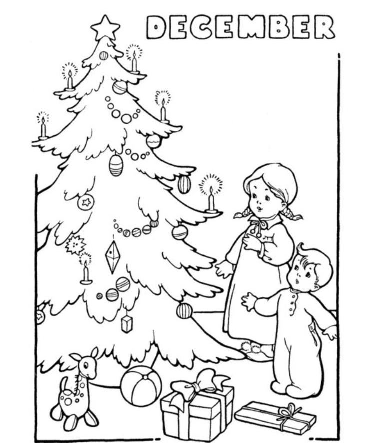 December Christmas Winter Coloring Page