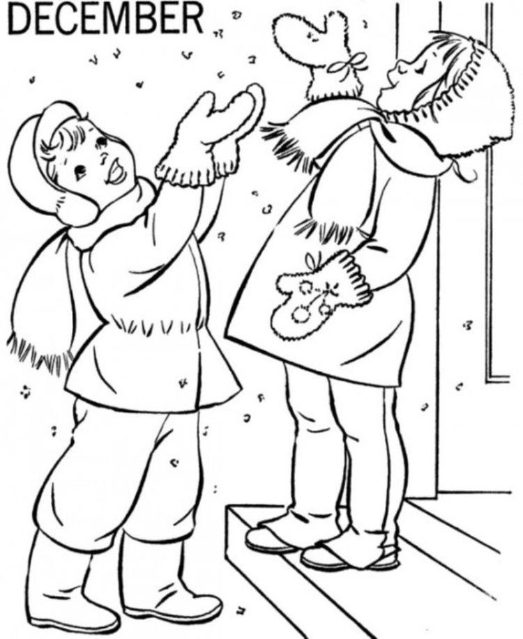 December Winter Coloring Pages For Girls