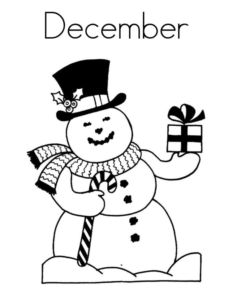December Winter Themed Coloring Pages