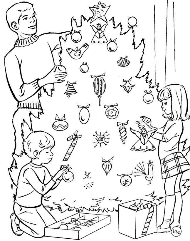 Decorating Christmas Tree Coloring Pages