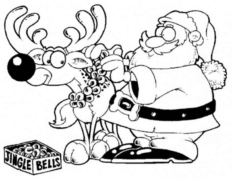 Deer And Santa Christmas Coloring Pages For Kids