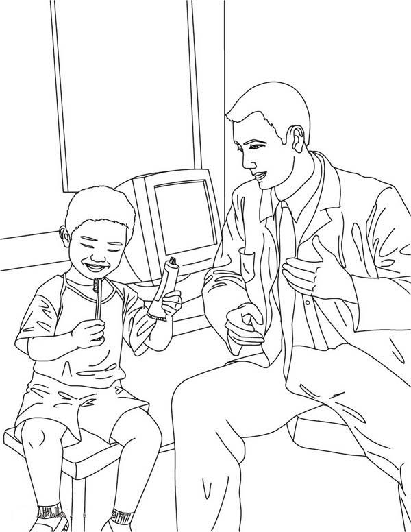 Dentist Teaching Kid How To Brush His Teeth Coloring Pages