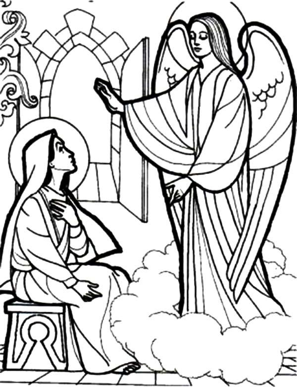 Depiction Of An Angel Appears To Mary Coloring Pages
