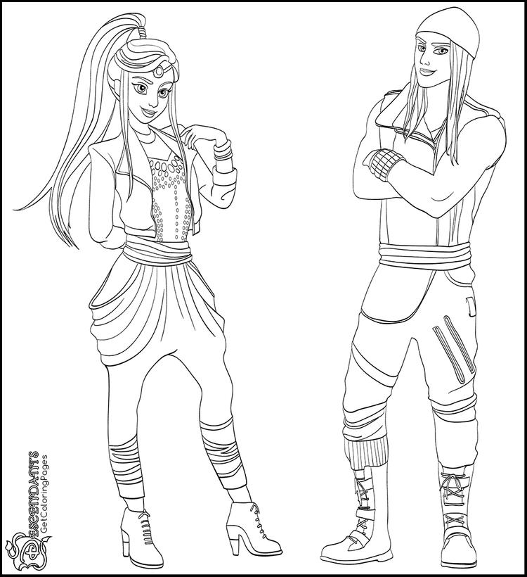 Descendants Wicked World Characters Coloring Sheet