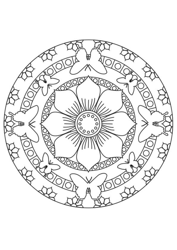 Design Coloring Pages Butterfly Mandala