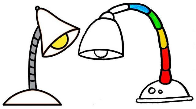 Desk Lamp Coloring Page For Kids