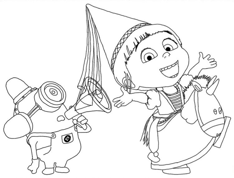 Despicable Me Coloring Pages Minion And Agnes