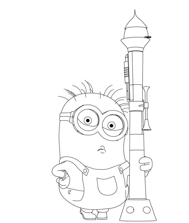 Despicable Me Coloring Pages Minion And Bazooka