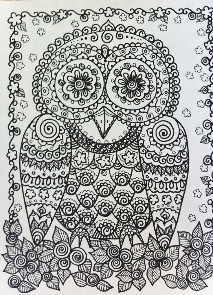 Detailed Adult Coloring Pages Printable Owl 1