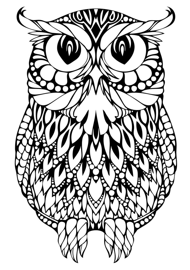 Detailed Adult Coloring Pages Printable Owl