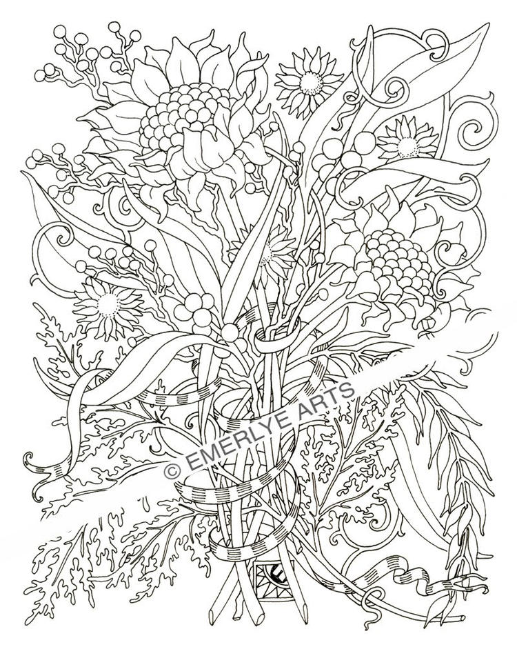Detailed Adult Flower Coloring Pages Printable 1