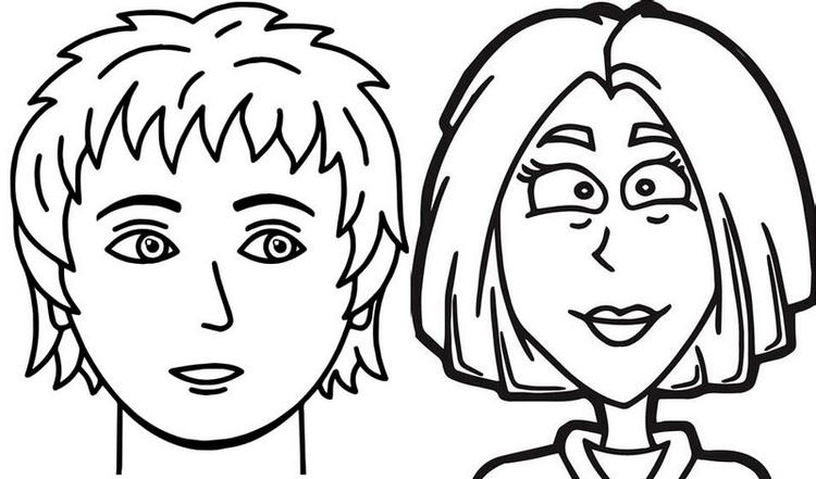 Detailed Cartoon Face Coloring Page