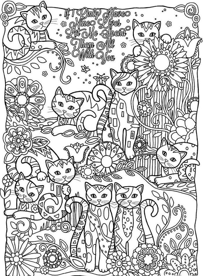 Detailed Kittens Coloring Pages