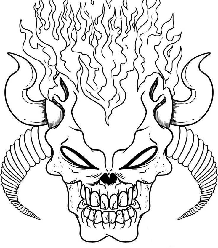 Devil Skull Coloring Pages On Fire