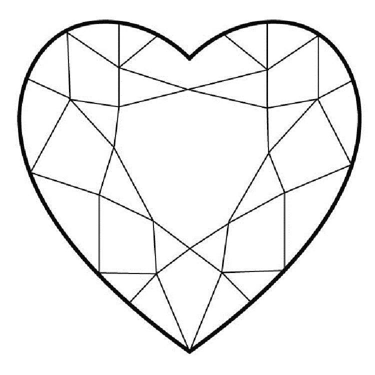 Diamond Hearts Coloring Pages