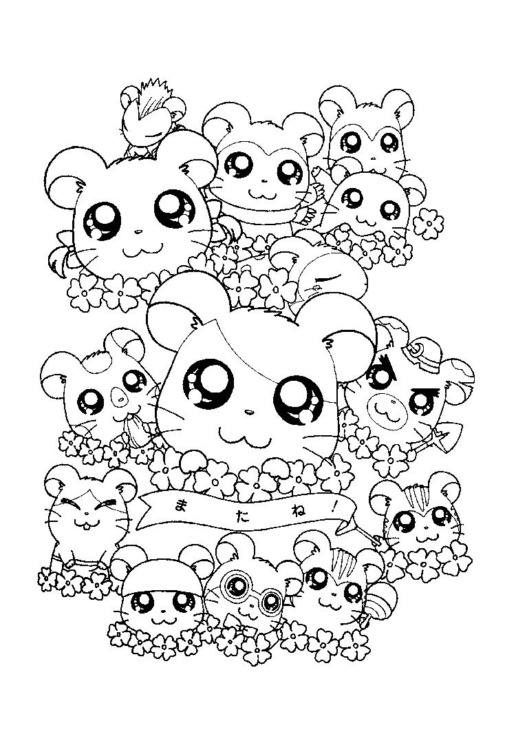 Different Characters In Hamtaro Coloring Pages
