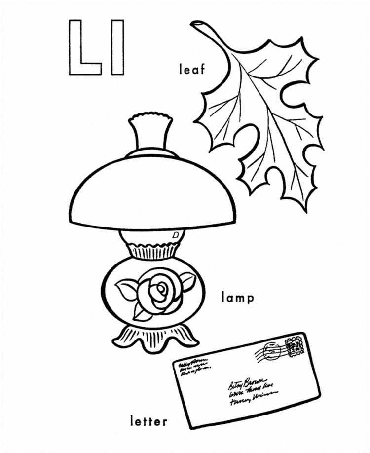 Different Words Of L Alphabet Coloring Pages Free
