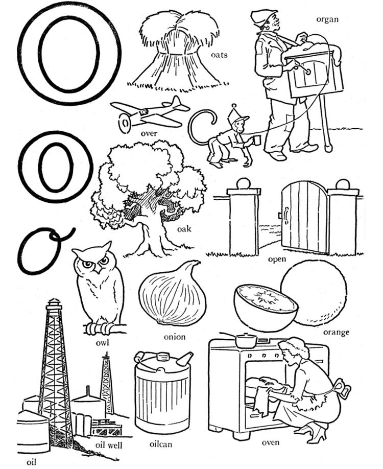 Different Words Of O Alphabet Coloring Pages