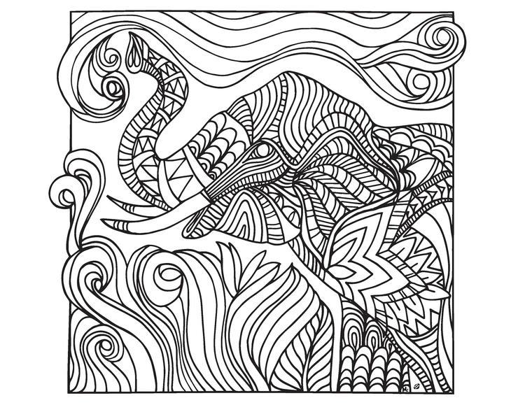 Difficult Abstract Elephant Coloring Pages For Adults