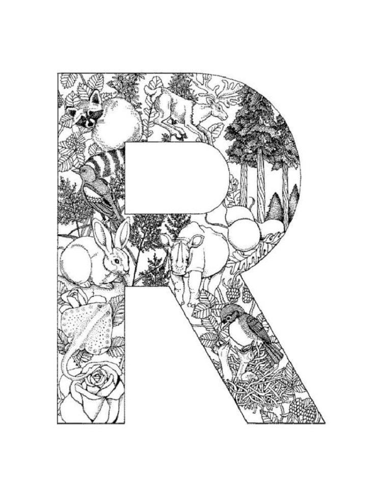 Difficult Alphabet Coloring Pages