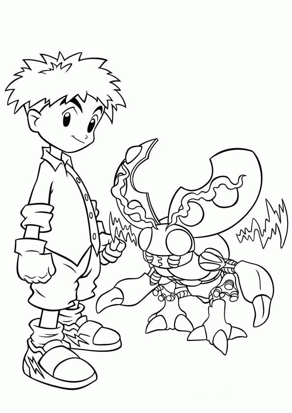 Digimon Coloring Pages Izzy And Tentomon