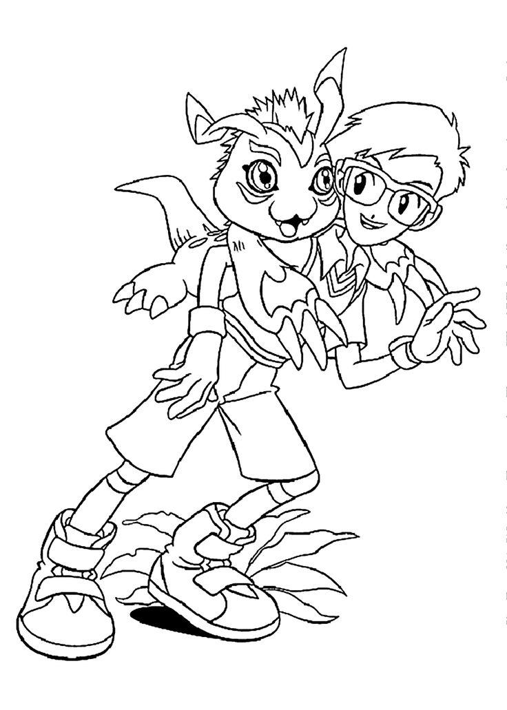 Digimon Coloring Pages Joe And Gomamon