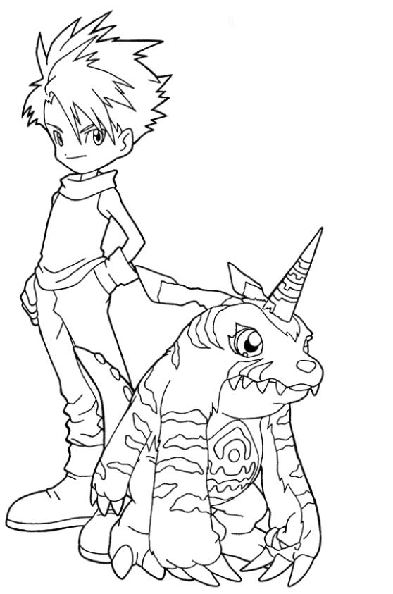 Digimon Coloring Pages Matt And Gabumon