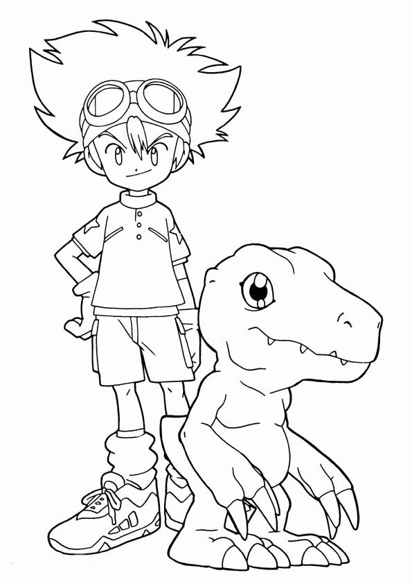 Digimon Coloring Pages Tai And Agumon