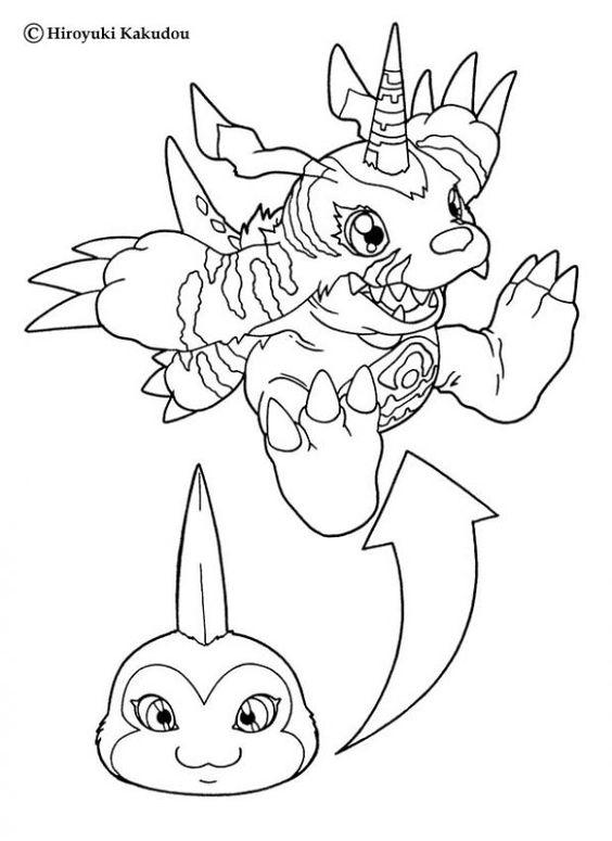 Digimon Coloring Pages Tsunomon To Gabumon