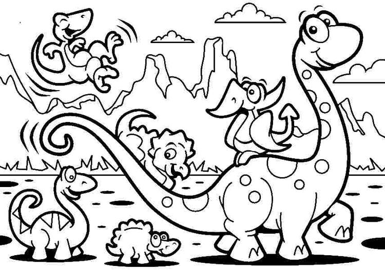 Dinosaurs Cartoon Coloring Pages For Kids
