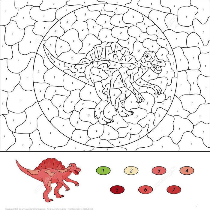 Dinosaurs Color By Numbers Coloring Pages
