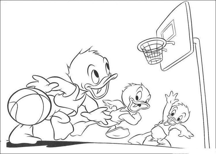 Disney Cartoon Basketball Coloring Pages