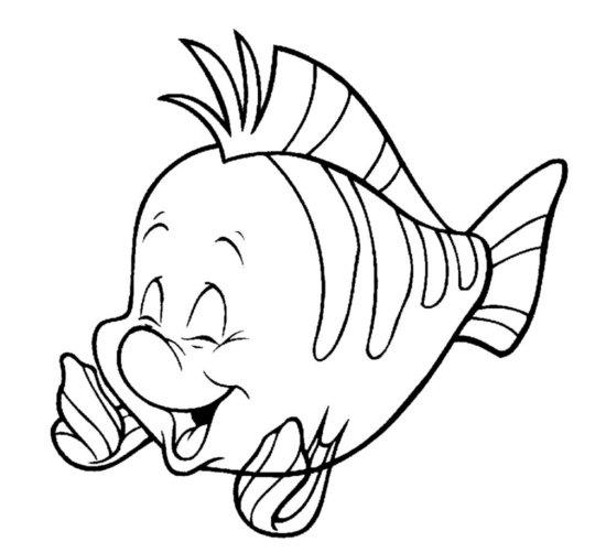 Disney Characters Coloring Pages Flounder