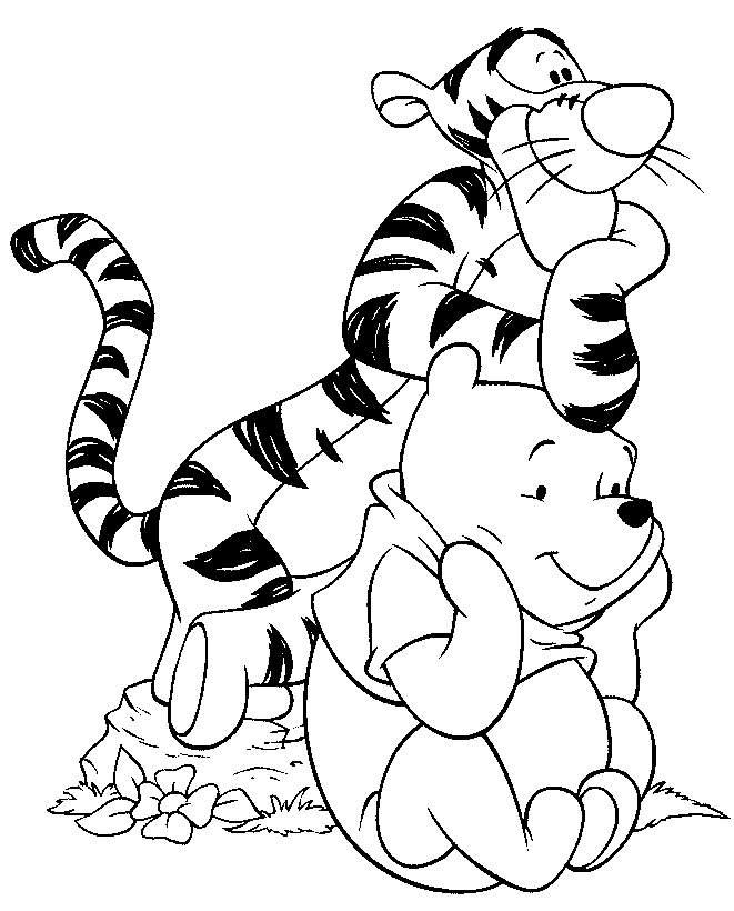 Disney Characters Coloring Pages Tigger And Pooh