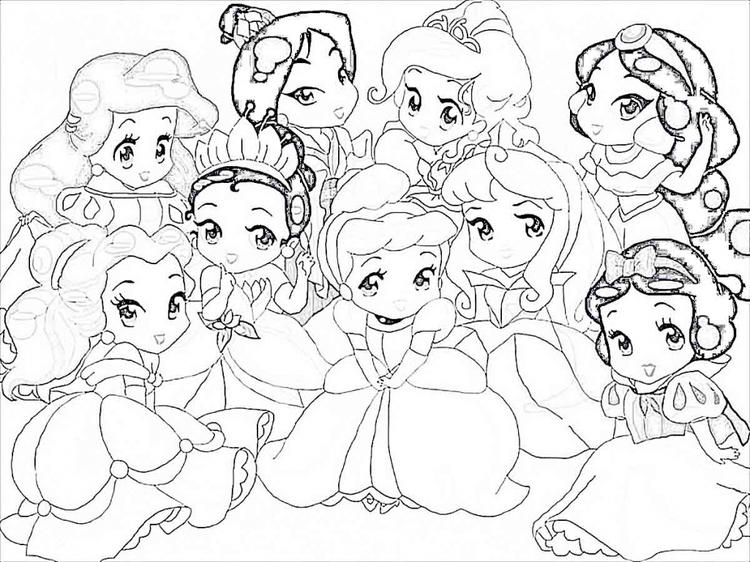 Disney Coloring Pages Cute Princesses