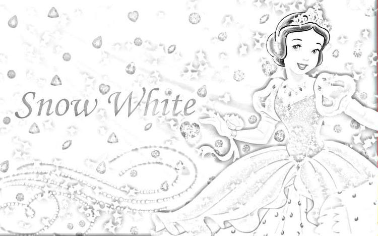 Disney Cute Princess Snow White Coloring Page