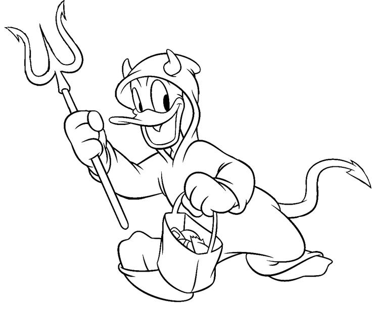 Disney Donald Devil Halloween Costume Coloring Pages