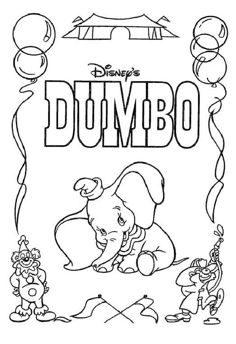 Disney Dumbo Free Printable Cartoon Coloring Pages