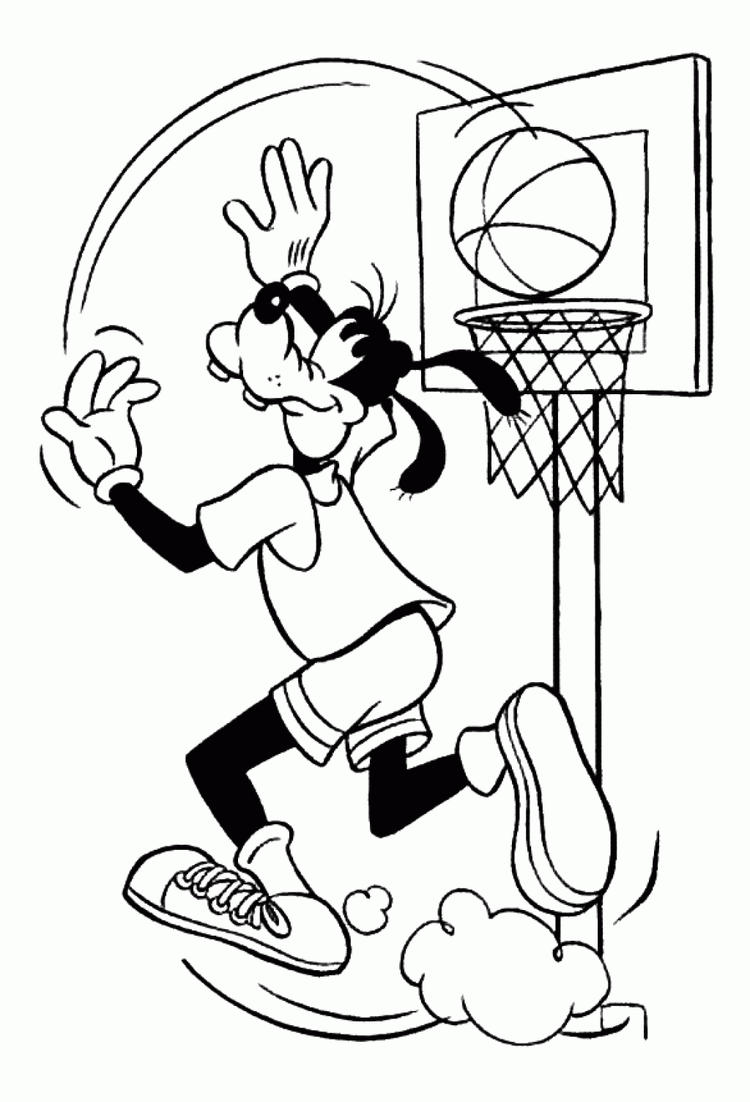 Disney Goofy Basketball Coloring Pages