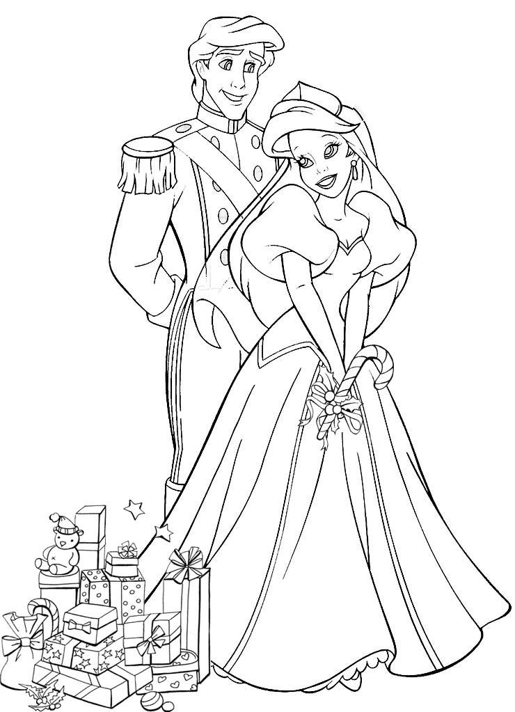 Disney Princess Ariel Married Coloring Pages