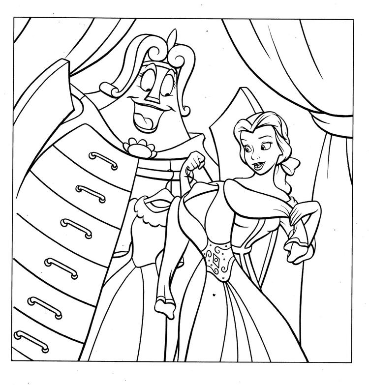 Disney Princess Belle Coloring Pages To Kids 1