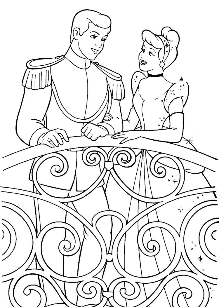 Disney Princess Coloring Pages Cinderella Married